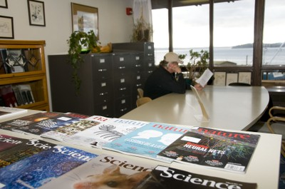 patron in Friday Harbor Library. photo by Kathy Ballard