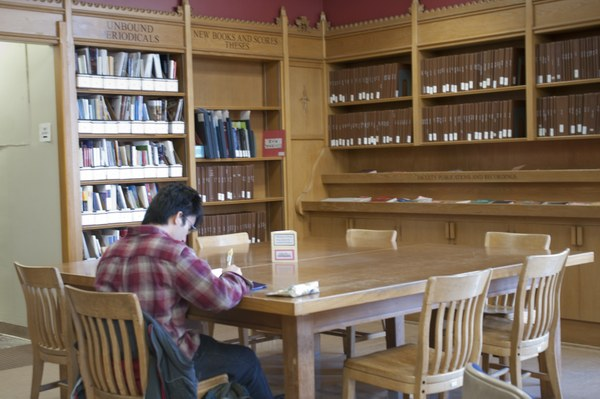 Student in Music Library